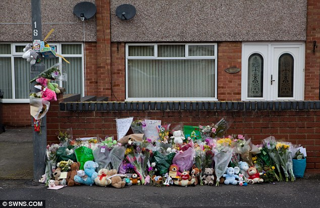 Flowers and teddies left near the scene of a tragic accident in which a 26-month-old boy, Levi Brailsford, died