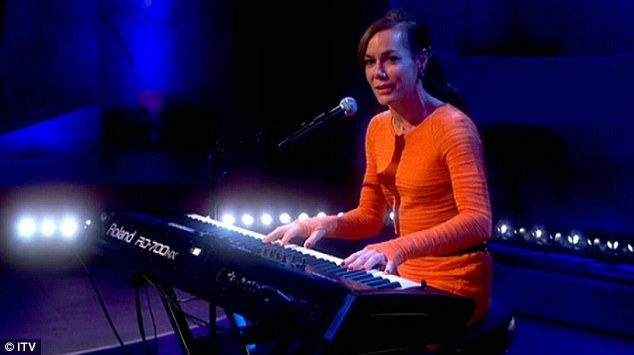 Music maestro: Tara Palmer Tomkinson multitasks as she sings and plays the keyboard live on ITV's Loose Women