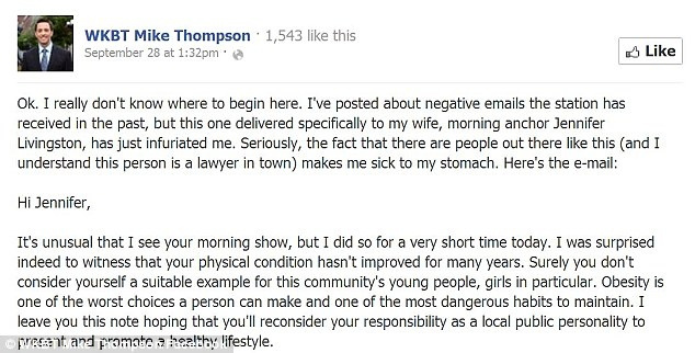 Viral: After Mr Thompson revealed the letter, messages of support for the couple started to flood in