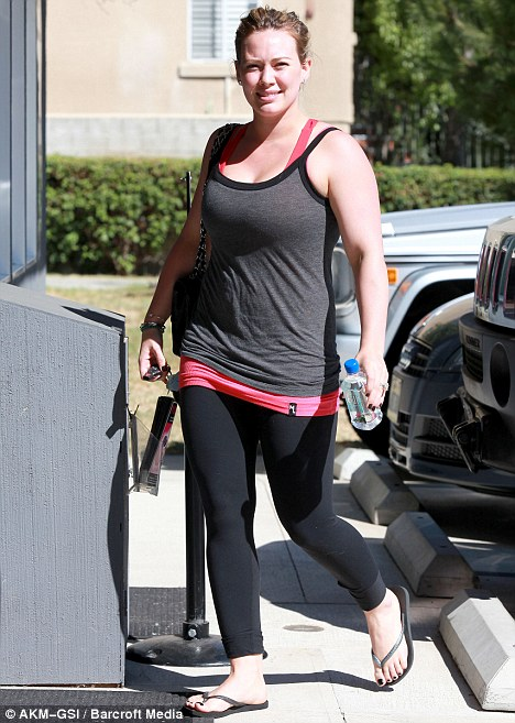 Working out: The star was attending a Pilates class in Studio City, California