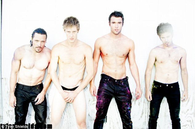 Stripping off: The show's leading men go shirtless and smoulder for the camera while Tyler clicks away
