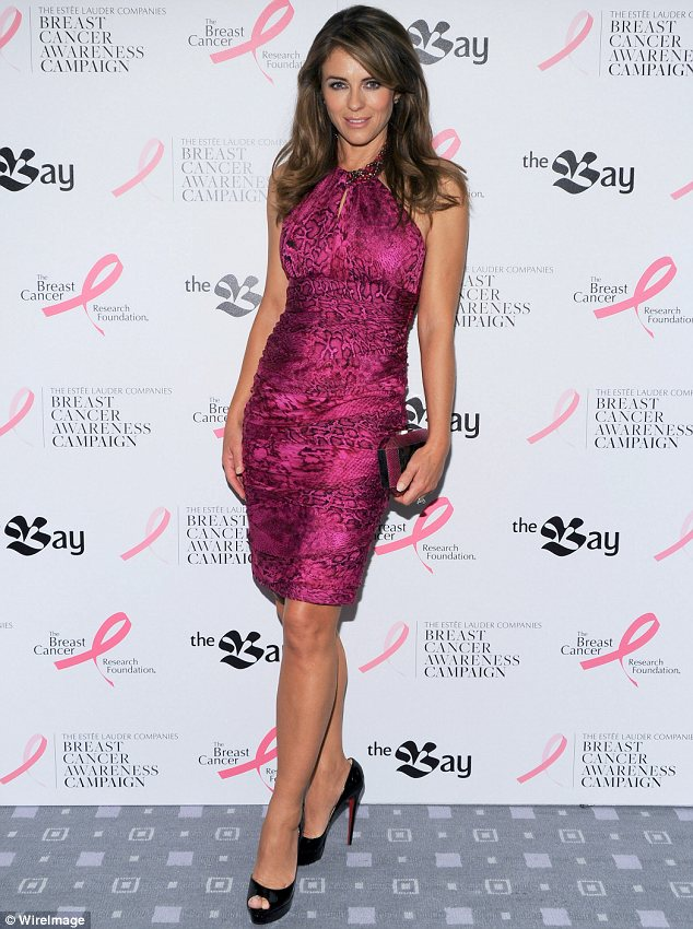Pink lady: Elizabeth Hurley has been dressing in pink outfits to raise awareness for breast cancer