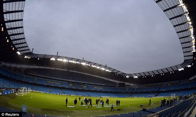 Big money: City host Dortmund at the Etihad Stadium, which is sponsored to the tune of £350m