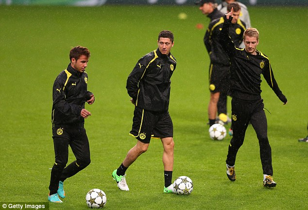 Danger men: Dortmund's attacking triumvirate of Mario Gotze, Robert Lewandowski and Marco Reus