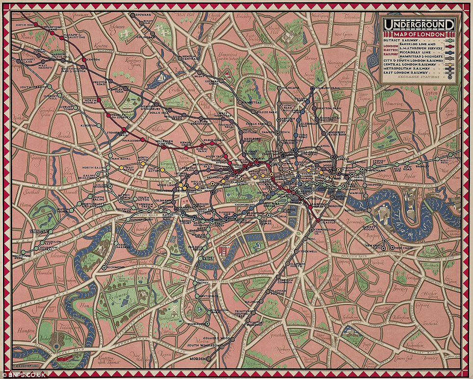 Leaps and bounds: Seven years later, in 1926, this map by Reginald Percy Gossop has changed drastically from its 1919 counterpart