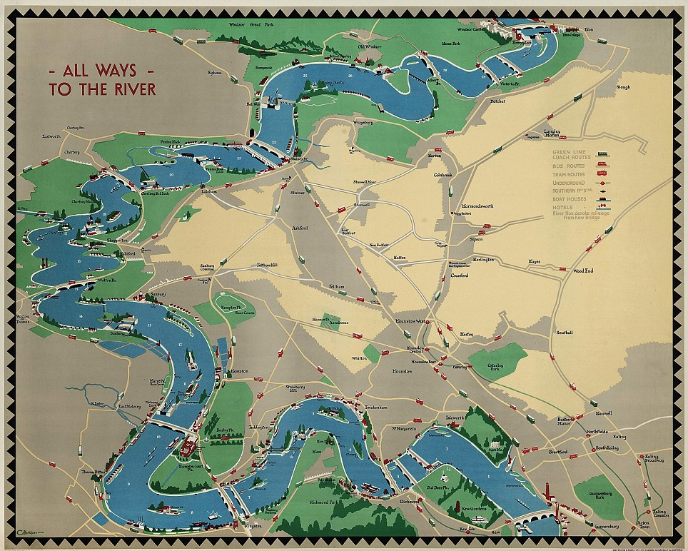 All  Ways To The River: This curiously titled map by Charles Burton was produced in 1932 and even has pictures of boats on the Thames