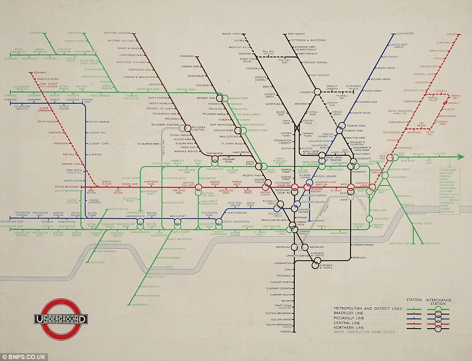 Still going: Ten years later, in 1948, Beck produced this map which possesses a striking resemblance to the present day's