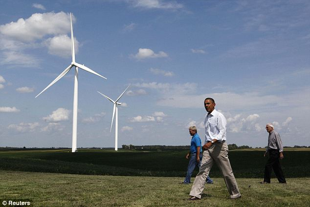 Windy issue: President Obama (seen here in Iowa in August), a supporter of energy alternatives like wind turbines, blocked the production of a wind farm in Oregon because it was owned by a Chinese company