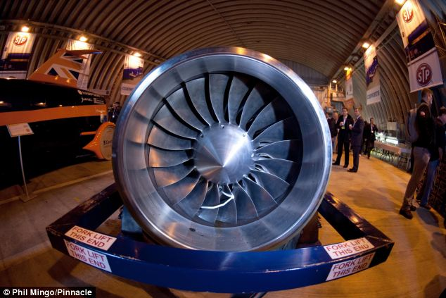The bloodhound jet engine that it is hoped will propel the British car to 1,000mph in 2014