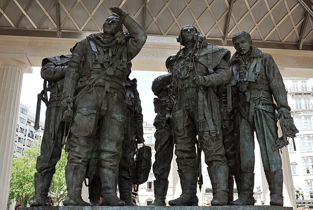 Respect: Thousands of veterans, widows and fatherless children gathered on the edge of Green Park and Hyde Park Corner to see the Queen unveil Liam O'Connor's brilliantly evocative statue