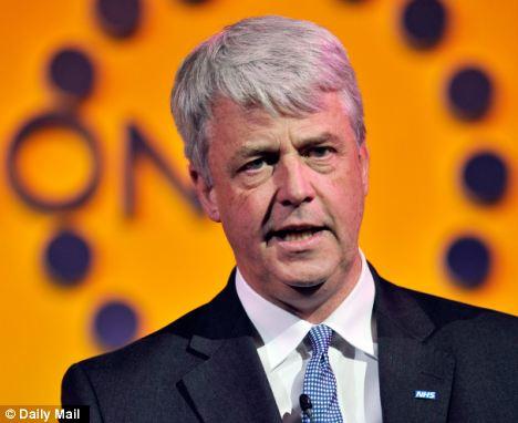 Reverse: Mr Hunt's warnings goes against former Health Secretary Andres Lansley's pledge not to cut NHS spending
