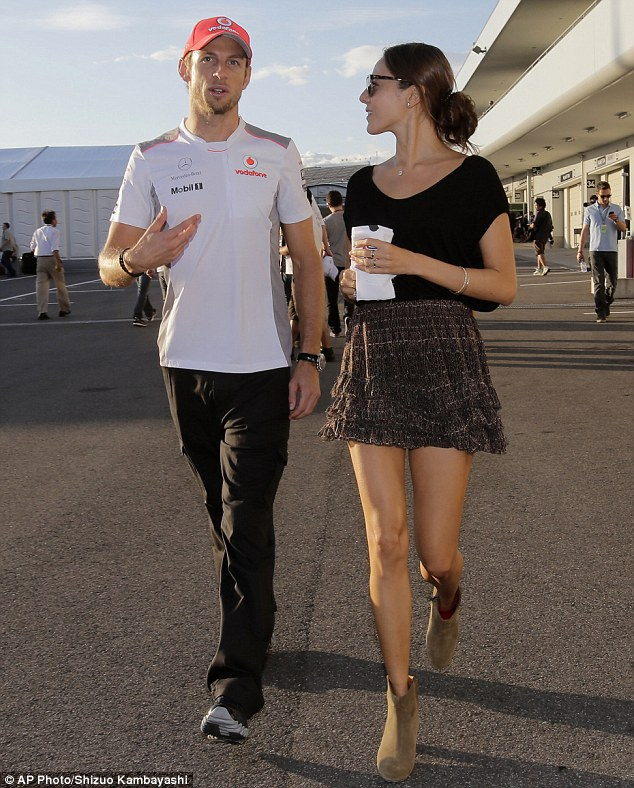 The pressure's on: Jessica supports Jenson as he prepares for this weekend's race