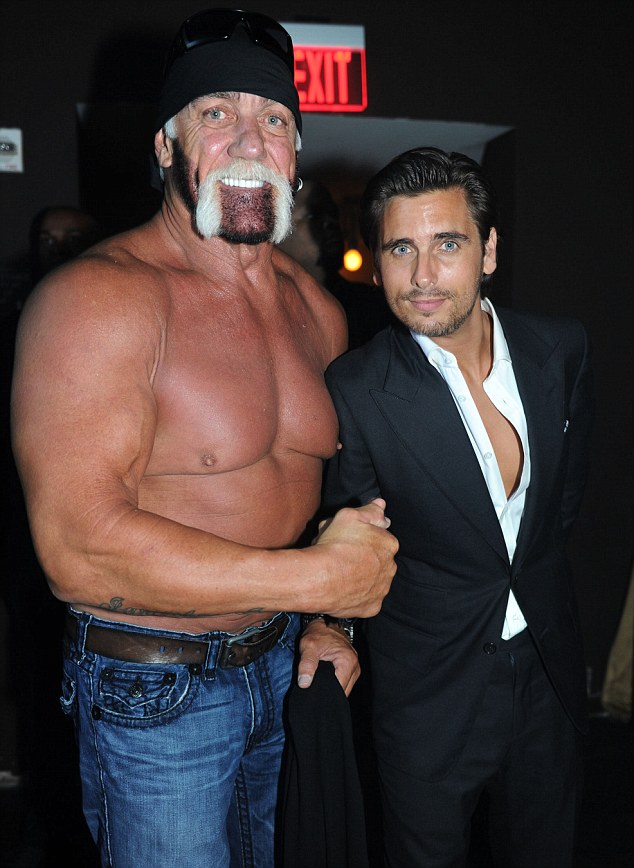 Day and night: Hulk Hogan and Scott Disick cosy up for the camera at LIV nightclub in Miami on Wednesday