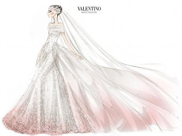 Blushing bride: Valentino's sketch of the couture wedding gown it created for Anne Hathaway