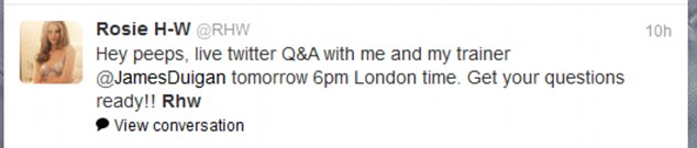 Red alert: Rosie announced the live Twitter chat to her followers last night