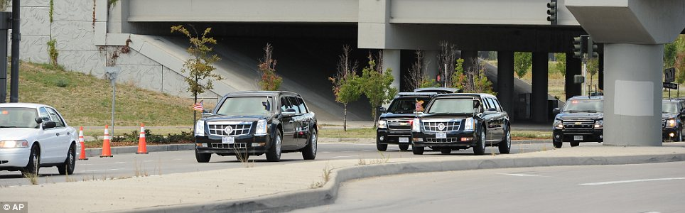 Motorcade: President Obama is escorted to the debate by a number of fortified limousines