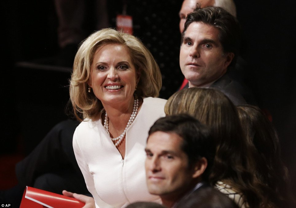 Family: Mrs Romney was joined by Tagg and Josh to watch her husband on the big stage