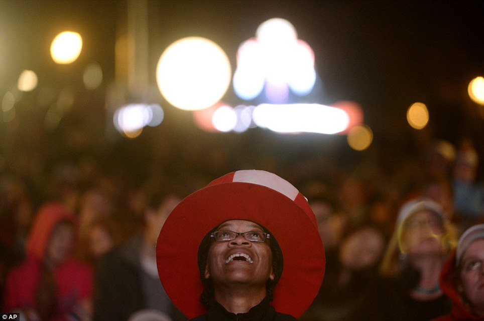 I look up to you guys: Teri McClain stands among a crowd watching the first presidential debate in Denver