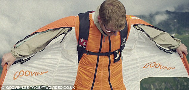 In a flap: Daredevil Espen Fadnes trusts his life to a few feet of fabric in his specially designed wingsuit