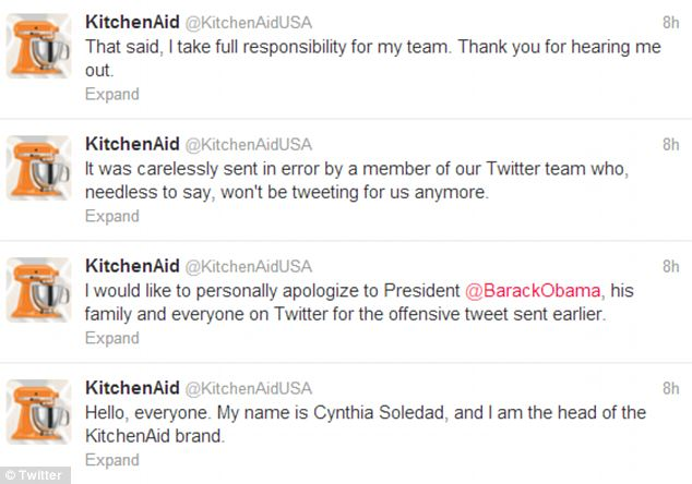 Taking it back: The person who sent the message 'will no longer be tweeting' for Kitchen Aid