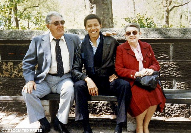 Close: Mr Obama mentioned his grandmother Madelyn Dunham, seen on the right of Obama during his college years at Columbia University. The President was partially raised by his grandmother and grandfather (left)