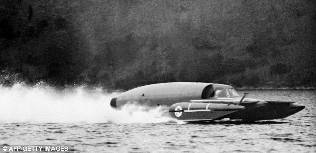 Donald Campbell in Bluebird on Ullswater in 1955 shortly before one of his record attempts