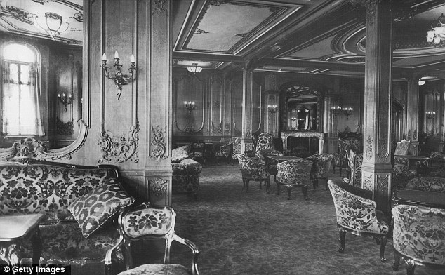 Opulent: The First Class Lounge of the original Titanic. Like the original the new ship will have 840 rooms and nine decks and retain the first, second and third-class divisions