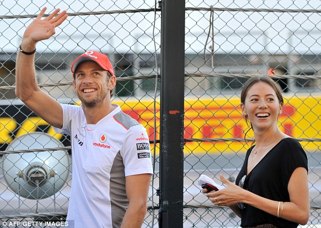 Ready for success: Jessica and Jenson seem on top of the world ahead of Sunday's race
