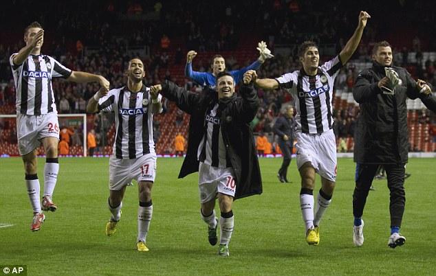 Udinese players celebrate
