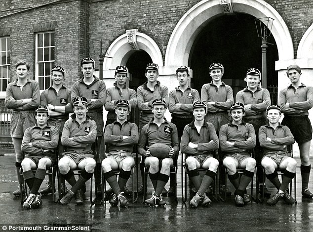 The 1962 rugby team pictured outside Portsmouth Grammar School in 1962