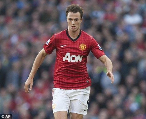Stand-in: Evans is playing in the centre of defence in the absence of Nemanja Vidic
