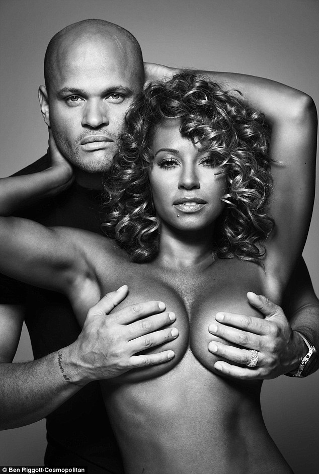Mel B and her husband Stephen Belafonte in the October issue of Cosmopolitan, recreating the iconic Rolling Stone cover, in aid of breast cancer charity CoppaFeel!