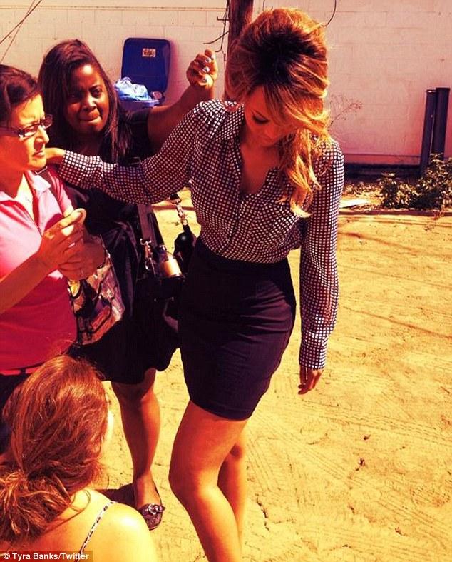 Luscious locks: Tyra got her tresses tamed by LA Hair star Kim Kimble