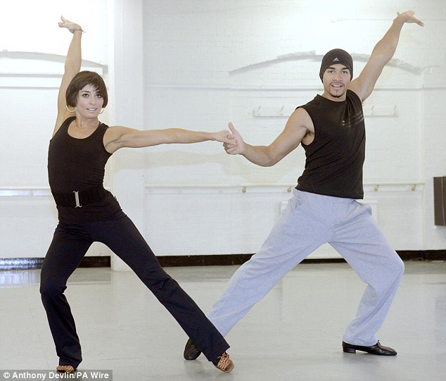 He's got the moves: Louis Smith practices his moves with partner Flavia Cacace