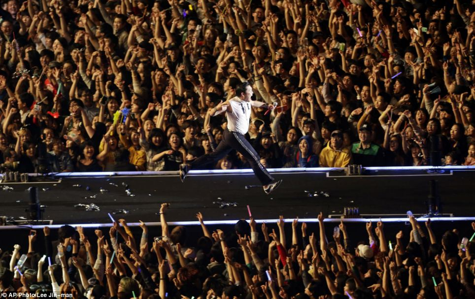 Showman: The rapper wowed fans with an all-action show as he performed the signature horse-riding dance during the concert. This included running down the stage as his fans roared him on
