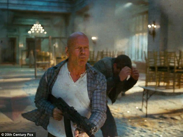 Yippee-ki-yay: The father-of-four has been in the French capital promoting A Good Day To Die Hard, which premieres Valentine's Day