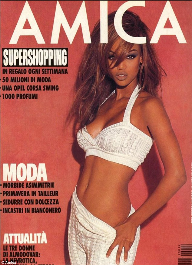Back in the day: Banks posed baring her stomach for the same publication