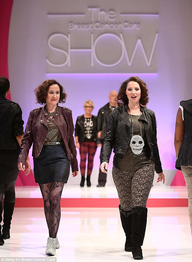Two models hit the runway in biker chic at The Breast Cancer Care Show last night