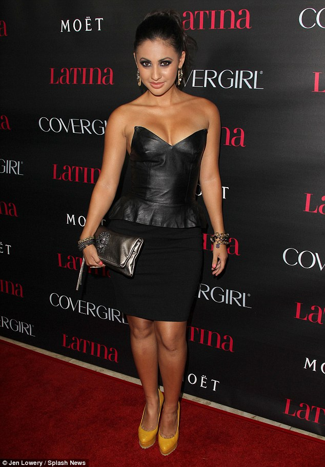 Leather clad: Francia Raisa makes an impact on the red carpet at the Latino Magazine party