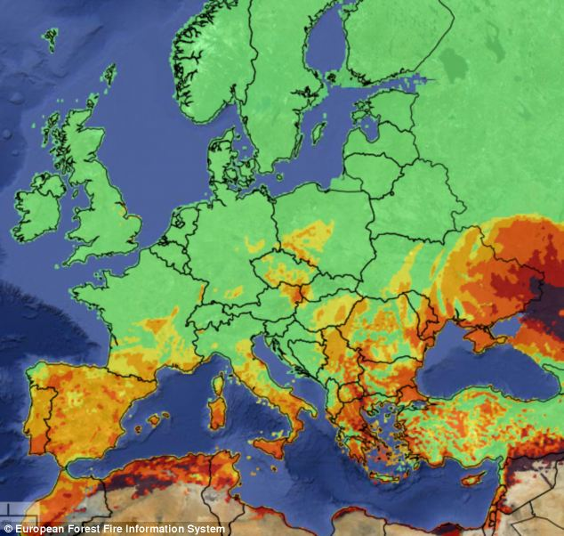 Risks: A map showing the current risks of a forest fire in Europe