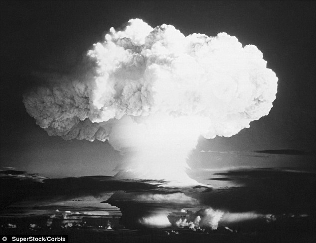 The mushroom cloud formed by the explosion of an atomic bomb. Christy said that, at the time of their work, he had no idea their research would be used for a weapon