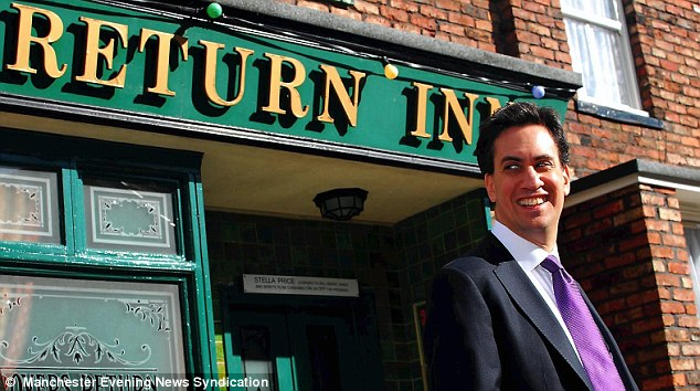 Iconic: Mr Miliband outside the Rovers Return on the Coronation Street set this week
