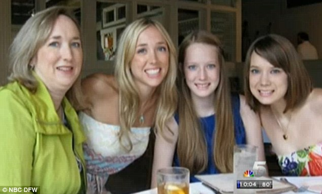 Family ties: Jamie Evans, left, and Mallory, centre right, were both killed; the two other daughters and Jamie's husband were not in the house at the time of the murders