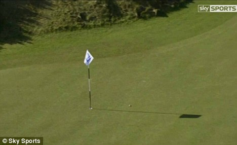 Nearly there: The ball creeps towards the hole