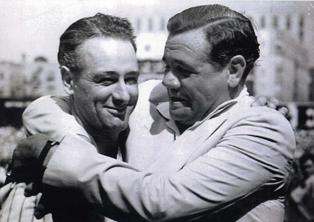 Beloved: Gehrig with Babe Ruth at an appreciation day for him shortly after his diagnosis in 1939