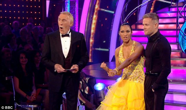 Waging a war: Karen joked around as host Bruce Forsyth looked shocked while Craig Revel Horwood continued to rip into them