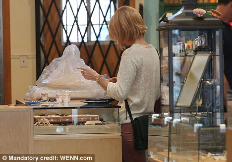Hands-on: The actress appeared to inspect one of the pieces