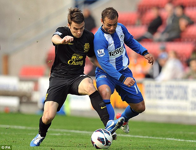 Shoulder-to-shoulder: Shaun Maloney (right) and Seamus Coleman (left) battle for the ball