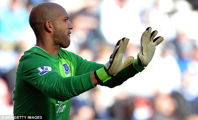 Relax! Tim Howard commanded his defence from the goal-line