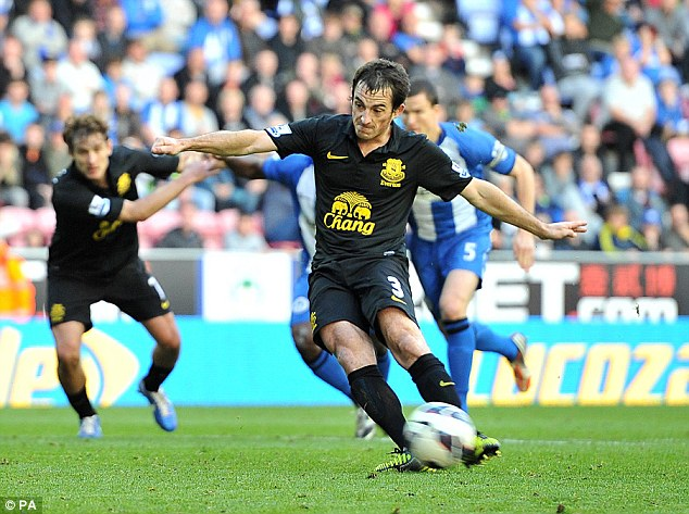 Rescuer: Baines equalised for Everton from the spot in the 87th minute against his former club